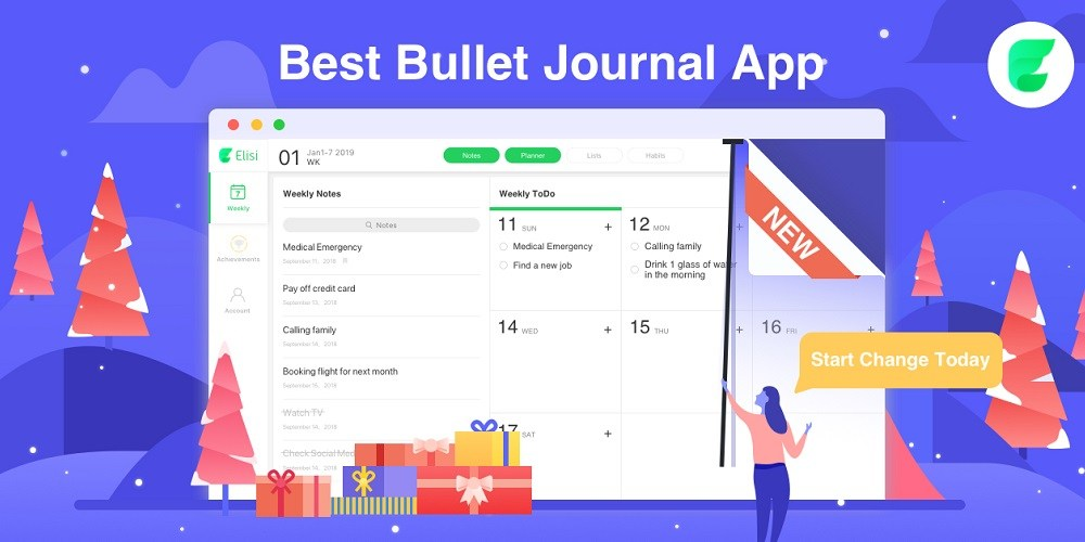 Elisi - A Pre-Templated Digital Bullet Journal App That